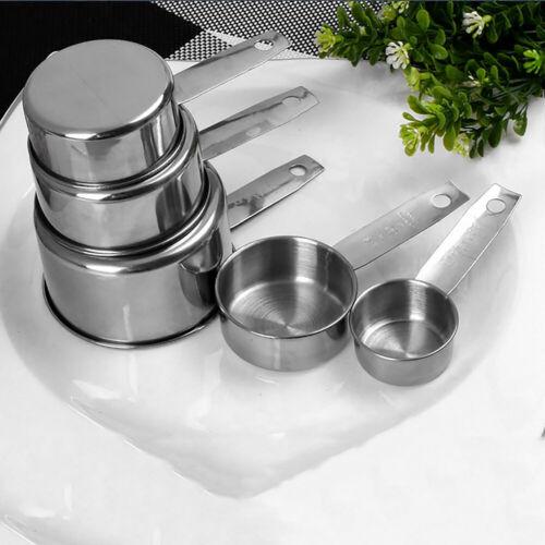 5pcs//Set Stainless Steel Measuring Cups Spoons Set Kitchen Baking Cook Utensil