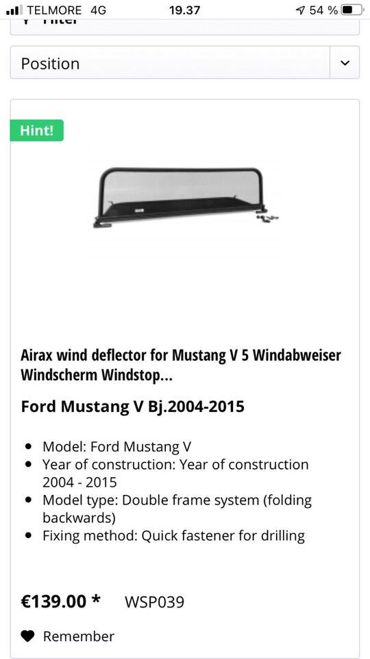 Ford Mustang årg. 2004-2015: Windstop