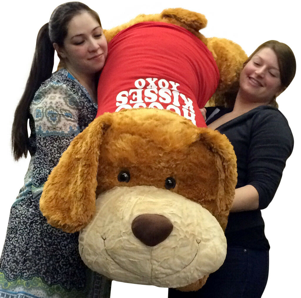 Big Plush Dog 5 Foot Valentines Day Giant Stuffed Animal HUGS AND KISSES Shirt