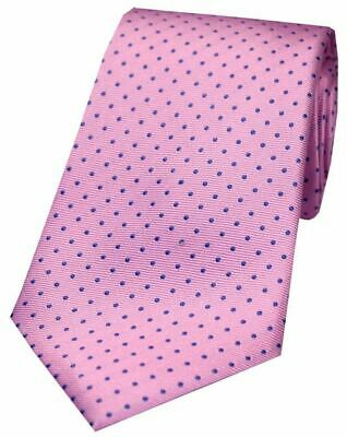 New Men/'s Pink Silk Tie with Blue Polka Dot