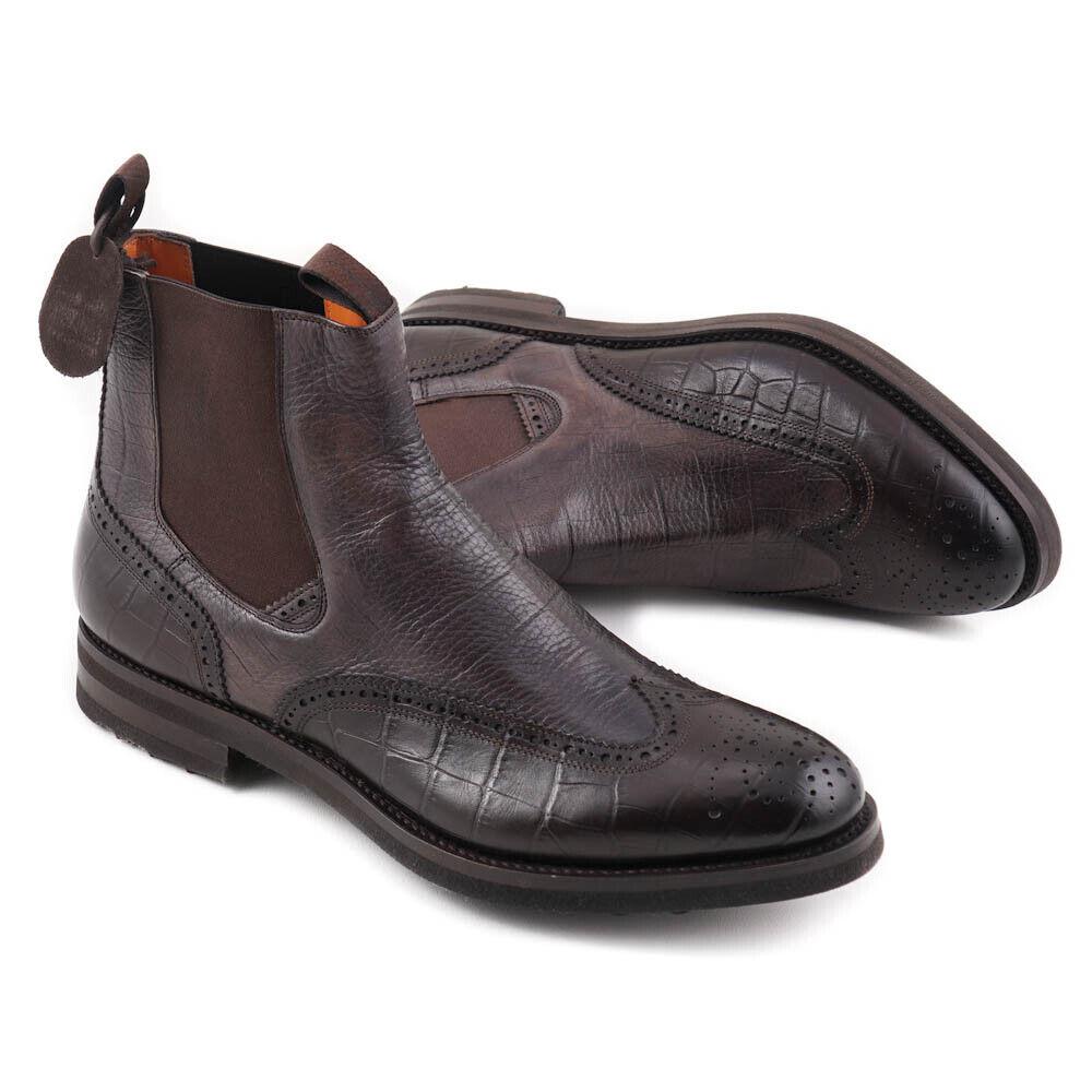 Nuevo En Caja  SANTONI Goodyear Welt botas al tobillo con estampado de cocodrilo US 10.5 Zapatos