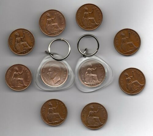 Penny Coin Keyring dates between 1937 and 1949 includes 70th /& 80th