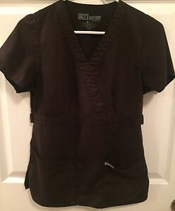 Grey's Anatomy By Barco Dark Brown Scrub Top Size S