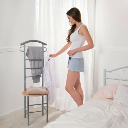 Debout Valet Vêtements Cintre Butler Support Chaise en bois organisateur de chambre à coucher Rack