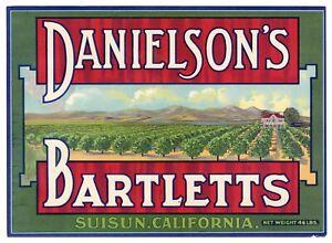 INDIANS ORIGINAL 1930s SUISUN CALIFORNIA OLD PEAR FRUIT CRATE LABEL RANCHERIA