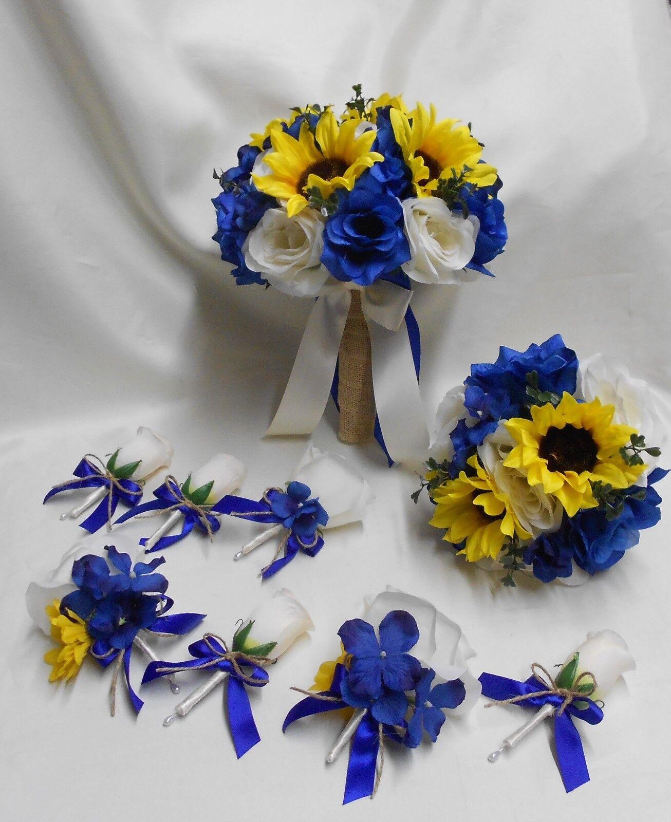 Rustique Paquet Soie Fleur Mariage Bridal Bouquet Tournesol Bleu Royal toile de jute