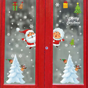 Cartoon Christmas Window Sticker Santa Claus//Snowman Art Wall Decal Home Decor