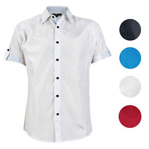 E-38-Italy-Men-039-s-Western-Button-Up-Short-Sleeve-Casual-Dress-Shirt-LY207