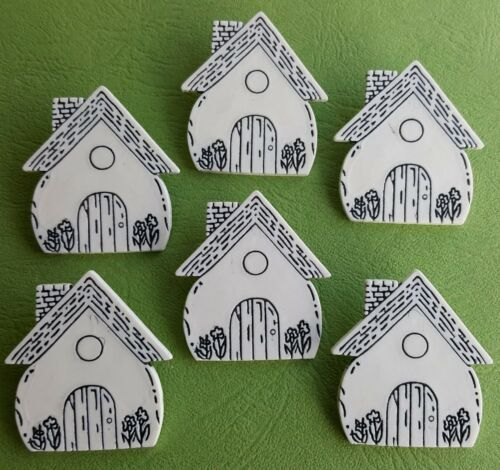 White Fairy Door Cottage Magic Fantasy Novelty Craft Buttons FAIRYTALE HOUSE