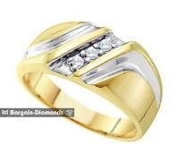 Mens Diamond .10-carats 3 Stone 10k Yellow Gold Ring Wedding Band Anniversary