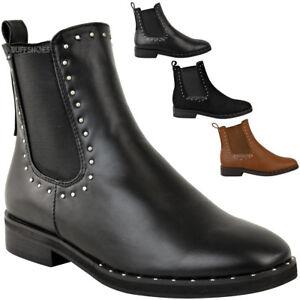 Nouveau Femme Cloutées Bottines Chelsea à Enfiler Plates Casual Chaussures Tailles