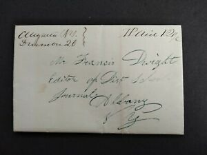 New York: Augusta 1843 Stampless Cover, Ms, DPO Oneida Co to Albany, NY