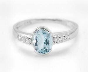 925-Sterling-Silver-Ring-Natural-Blue-Aquamarine-Solitaire-Gemstone-Size-4-11