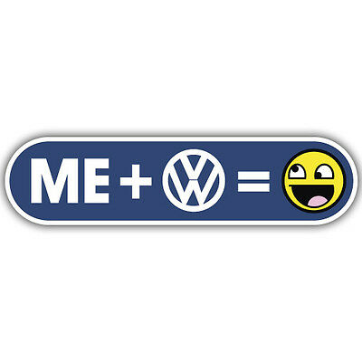 me + VW + smiley face volkswagen sticker 170mm x 45mm dub euro camper