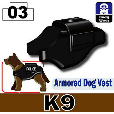 Custom Police Dog K9 Body Armor Vest compatible with LEGO® dogs