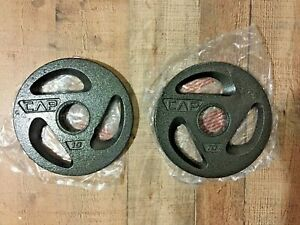 "Lot Of 2 New Cap 10lb Olympic Plates Weights Bench Press 2/"" Hole 20lb Total"
