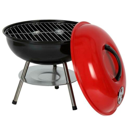 "14/"" Portable Outdoor BBQ Charcoal Steel Round Grill Camping Backyard Cooking"