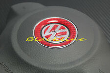 For VW RED Carbon Fiber Steering Wheel Emblem Decal Golf V GTi CC Eos Jetta R