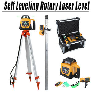 Green Beam Automatic Self-Leveling 360 Rotating Laser Level Googles Tripod Staff