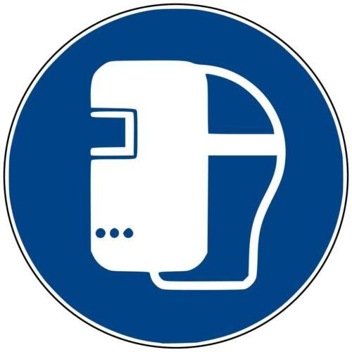 """Aufkleber Gebotsschild /""""Schweißmaske benutzen/"""" Folie ISO 7010 Ø5-30cm blau"""