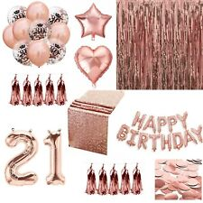 Rose Gold Happy Birthday Bunting Banner Balloons Tinsel Curtain DECORATIONS