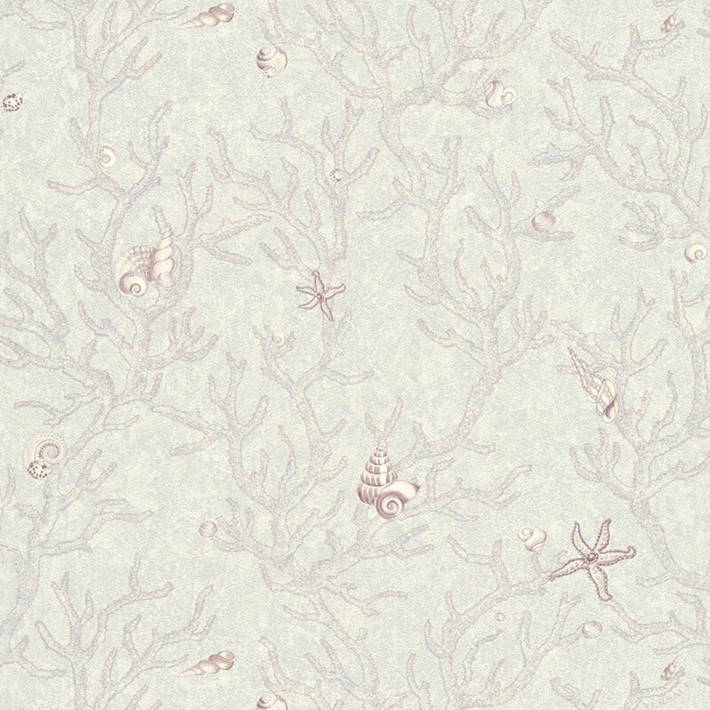 344964 - Versace Nautical Shell Coral purplec White AS Creation Wallpaper