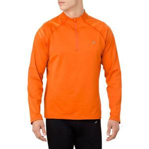 ASICS-da-uomo-ICON-Inverno-Manica-Lunga-1-2-Zip-Corsa-Top-Sport-Arancione-META-039