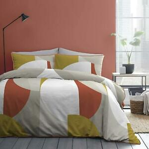 INTERLOCKED GEOMETRIC CIRCLES SPICE ORANGE 100% COTTON SINGLE DUVET COVER