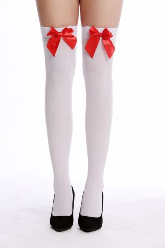 Strümpfe Damenstrümpfe Overknees Stockings Karneval weiß rote Schleife WZ-001RW