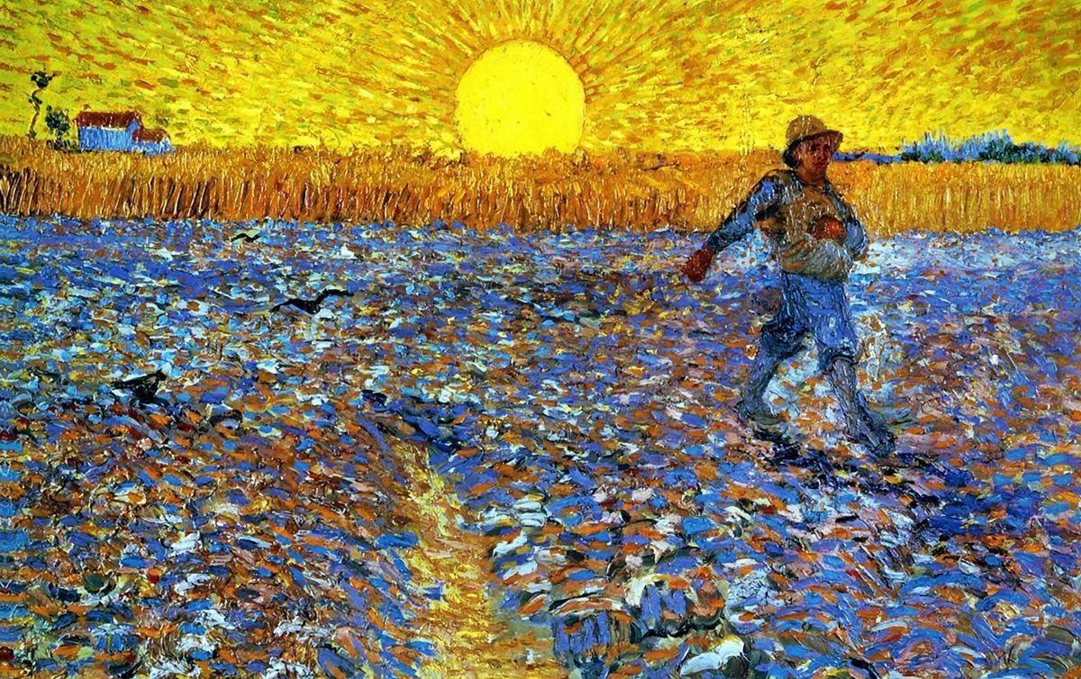 Immagine 1 - 'Seminatore al tramonto quadro - Stampa d''arte su tela telaio in legno'