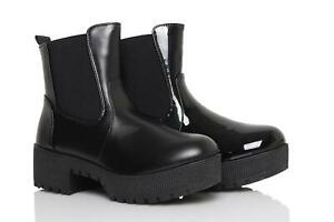 Womens-Chelsea-Ankle-Boots-Ladies-Zip-Block-Heel-Chunky-Platform-Work-Shoes