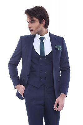 Men 3pc Vested Suit Turkey WESSI  J.VALINTIN European Slim Fit 129-11 Black