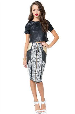 AGACI H/M Animal Leopard Print Midi Knee Length Bodycon Pencil Skirt Size S