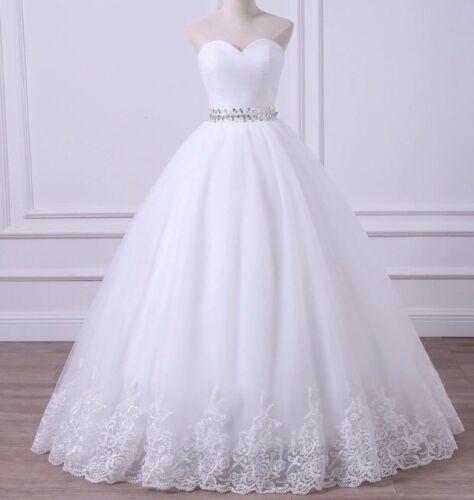 REGNO Unito più taglie bianco/avorio Sweetheart senza spalline una linea abito da sposa Taglia 6-26