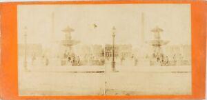Francia Parigi, Place Da La Concorde, Foto Stereo Vintage Albumina Ca 1865