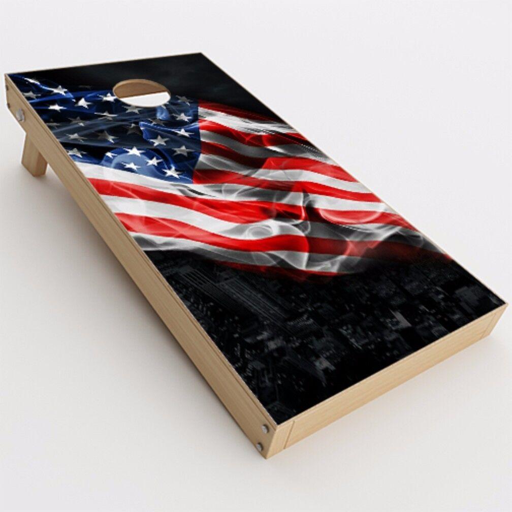 Skin Decal for Cornhole Game Board (2xpcs.)   American Flag waving