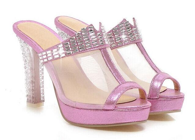 Último gran descuento Zapatos zapatillas zuecos sandalias talón 10 cm transparente rosa cómodo 9304