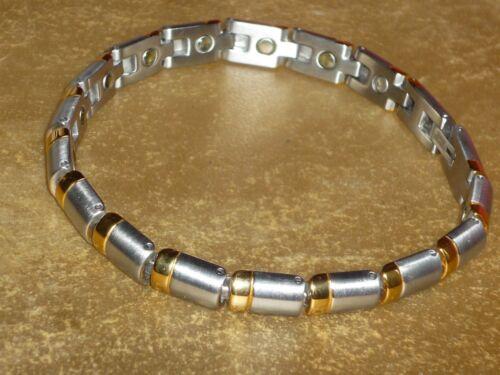 ARMBAND EDELSTAHL MAGNETSCHMUCK mit vergoldeten Elementen BICOLOUR NEU