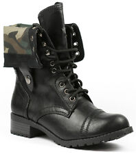 Black Camouflage Fold Down Plaid Mid Calf Lace Up Military Combat Boots 5.5 us