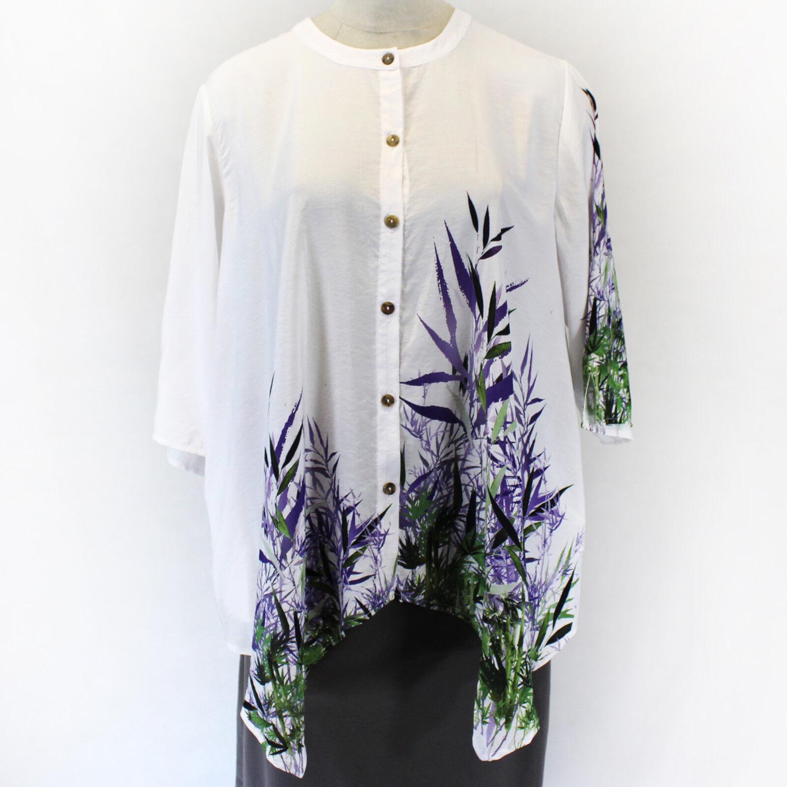 Citron Clothing Japanese Art Lavender Bamboo Blouse Tops w Pockets Plus 3X