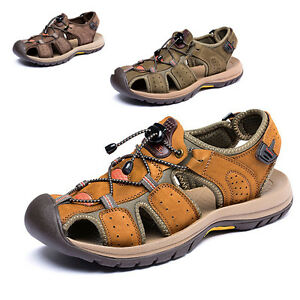 ccee16695efc Image is loading Summer-Sports-Sandals-Close-Toe-Outdoor-Leather-Casual-