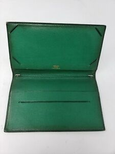 Authentic-HERMES-Blue-Leather-Notebook-Checkbook-cover-VTG-Paris-Made-in-France