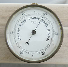 Fine Quality Heavy ANTIQUE ENGLISH SHIP BAROMETER Brass Case WORKING
