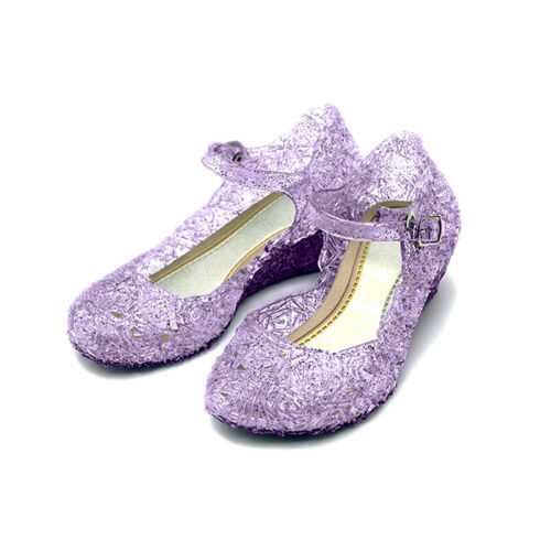 UK Baby Girl Jelly Shoes Sandals Princess Elsa Cosplay Kids Fancy Dress Up Party