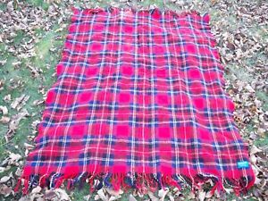 Vintage Pendleton 100% Wool Plaid Blanket Throw Red Stadium 45 x 56 ... 78f135807