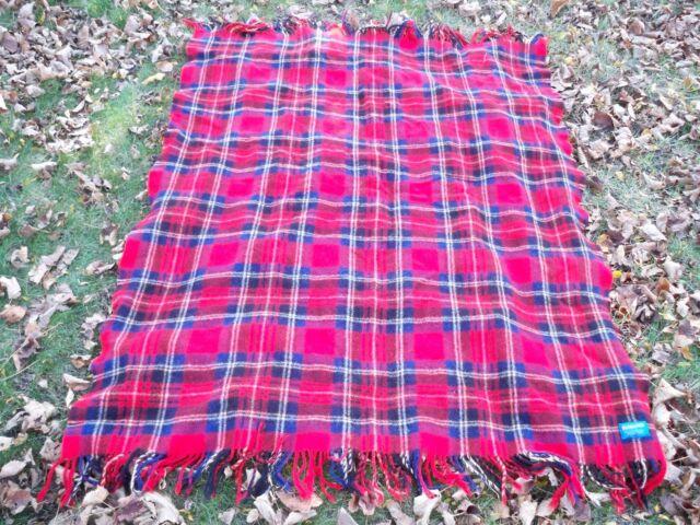 Vintage Pendleton 100% Wool Plaid Blanket Throw Red Stadium 45 x 56