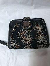 "Black Leather Trim & Embroidered Anna Sui Wallet 4.5"" Zip Around Nice EUC"