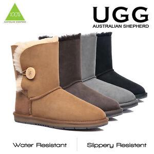 UGG-Women-Short-Classic-Button-Boots-Australian-Premium-Sheepskin-Wool-Non-Slip