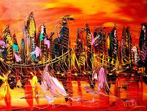 IMPRESSIONIST  large  Landscape NYC CANVAS Original Oil Painting  IMPASTO