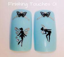 Nail Art Sticker- Black Fairy Decal #460 JH060 Transfer Butterfly Rhinestone